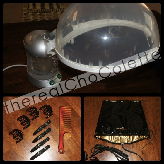 tools - Huetiful Steamer, Gold N Hot Conditioning Cap, Wide Tooth Comb & Hair Clips
